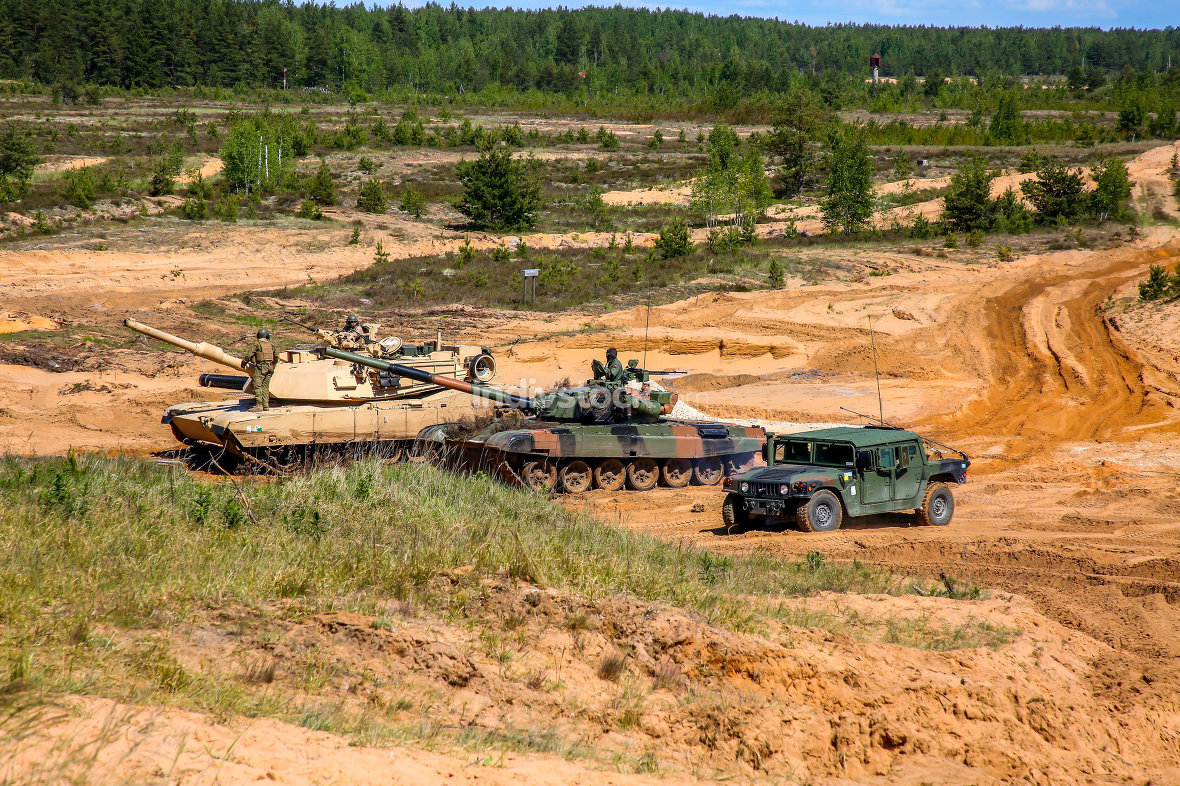 Military equipment in training Saber Strike in Latvia.