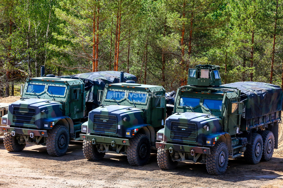 Military vehicles in training Saber Strike in Latvia.