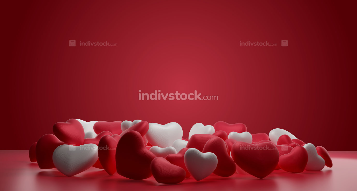 pile of red and white hearts background 3d-illustration