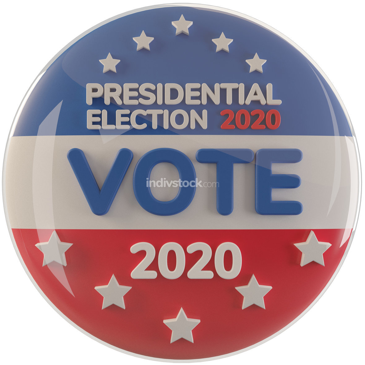 presidential election 2020 - vote 3d-illustration symbol button