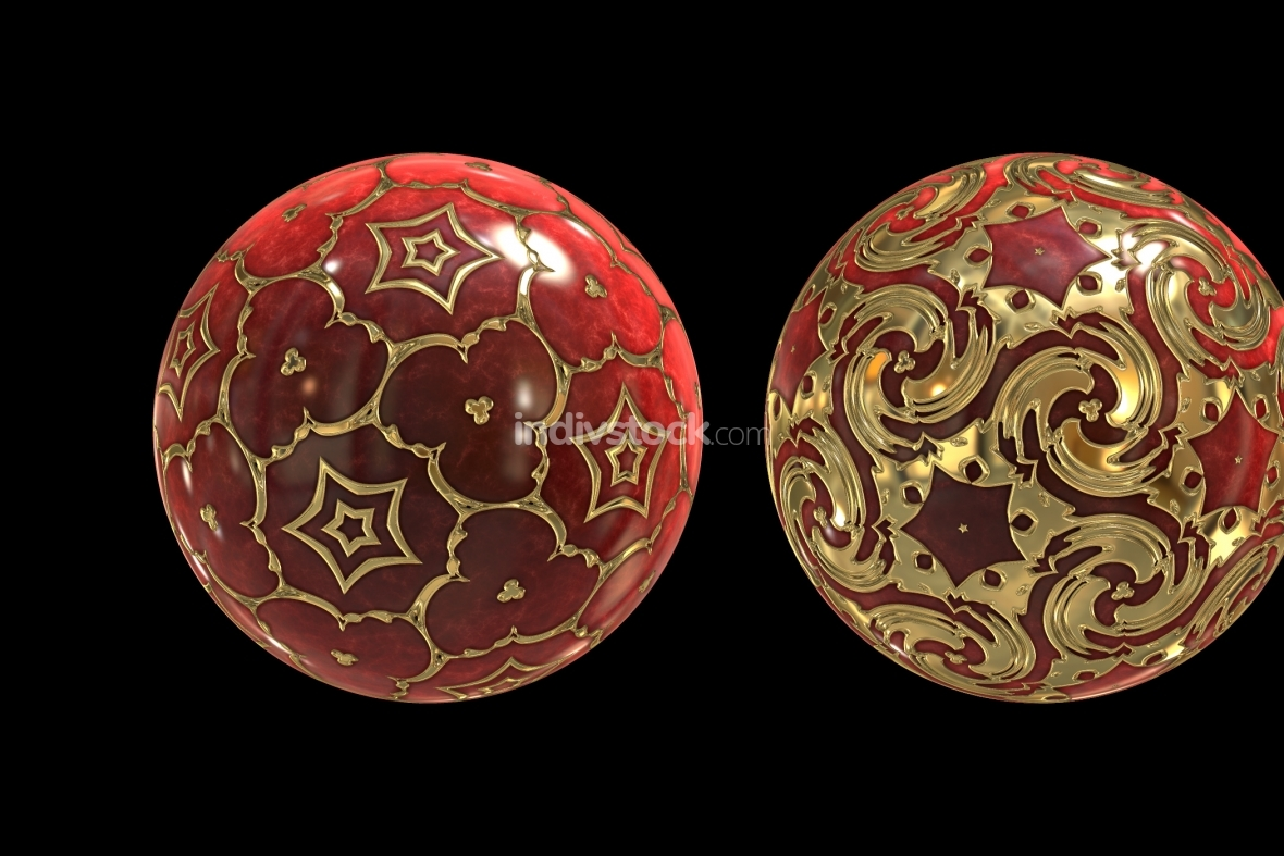 red golden decorated balls