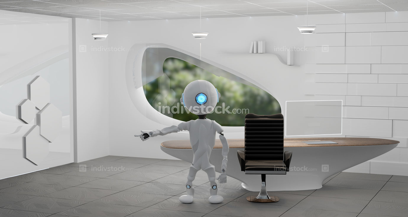 robot in a modern room 3d-illustration