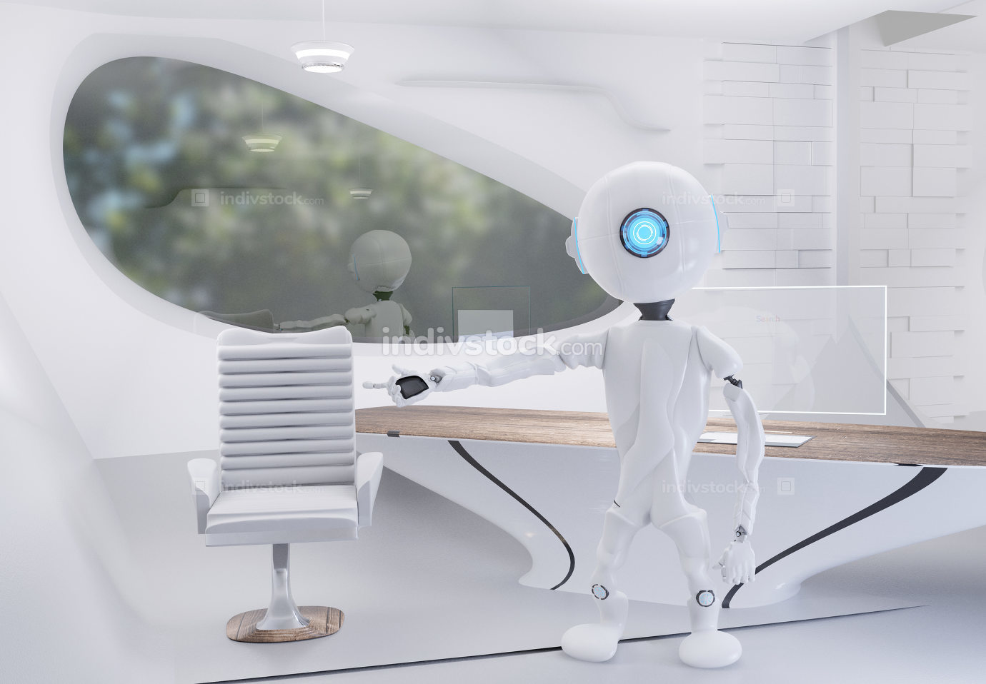 robot in a office 3d-illustration