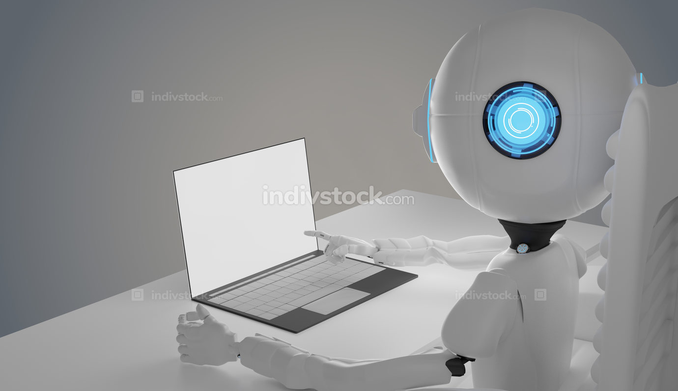 robot with computer 3d-illustration