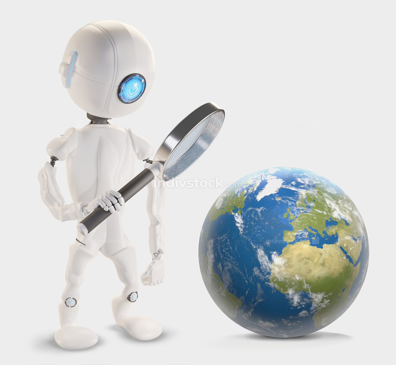 Robot with magnifying glass and planet earth 3d-illustration. El