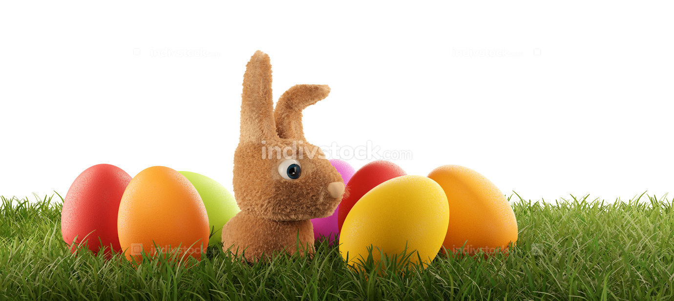 small cute Easter bunny with Easter eggs 3d-illustration
