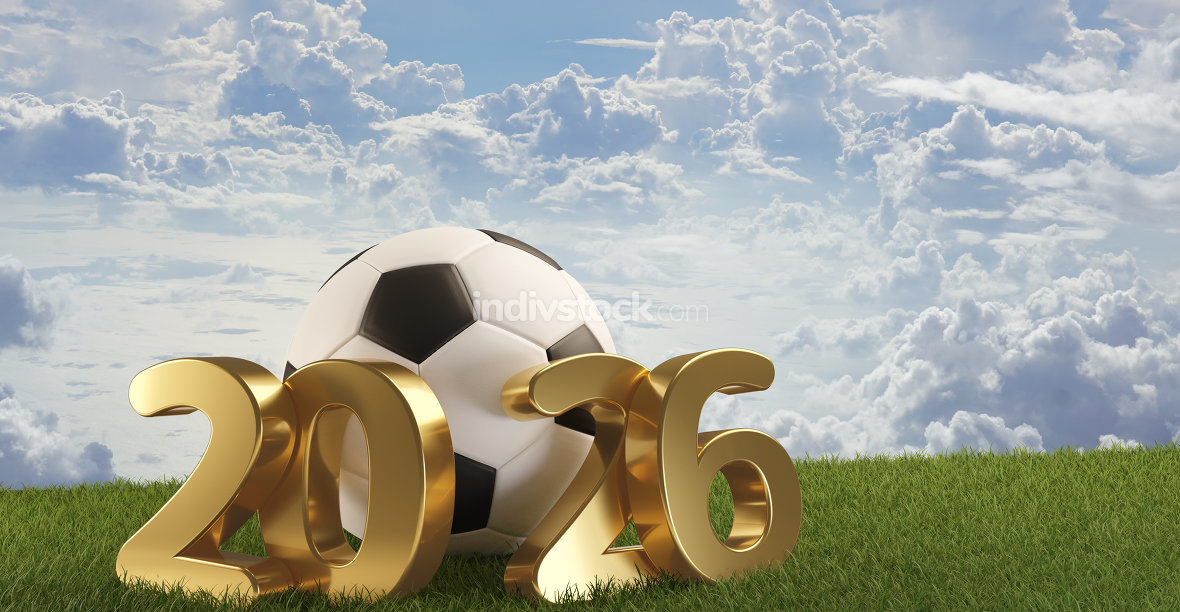 soccer ball 2026. 3d-illustration