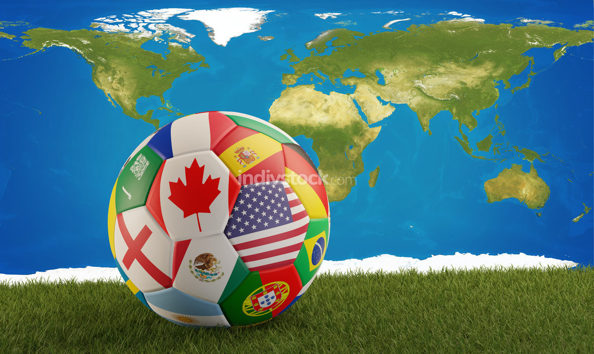 soccer ball with flags of Canada America Mexico. 3d-illustration