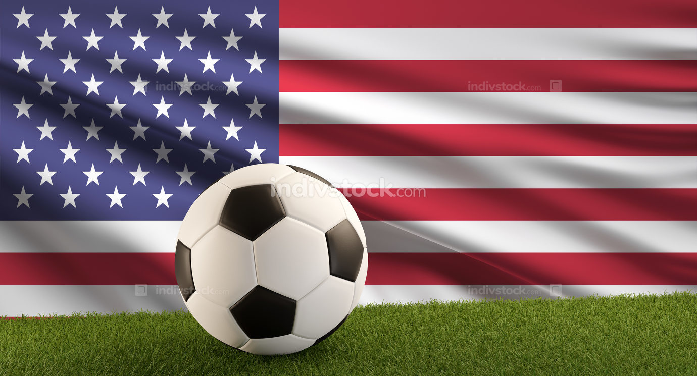soccer ball with the flag of America 3d-illustration