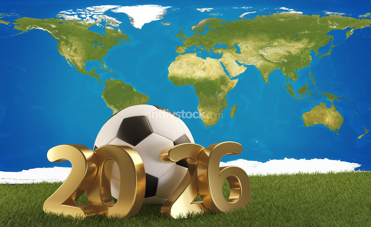 soccer ball world map 2026. 3d-illustration. elements of this im