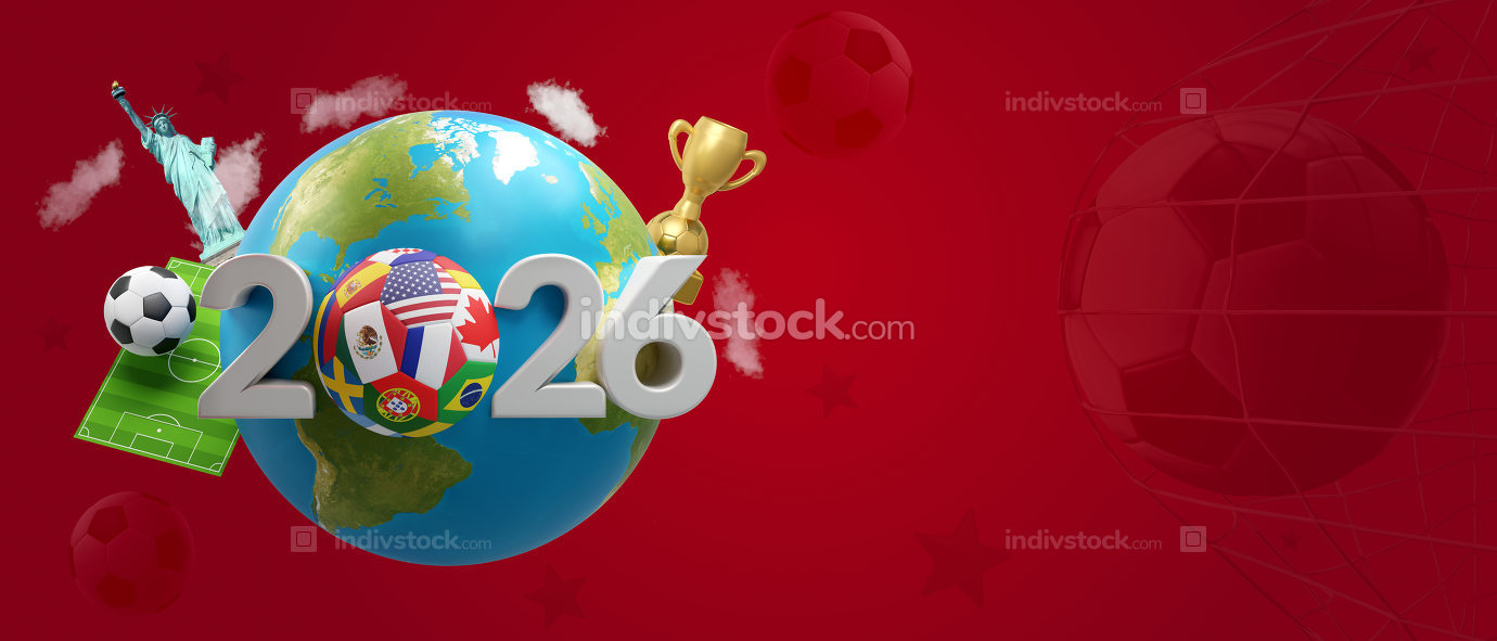 soccer planet earth America Mexico Canada 3d-illustration. eleme