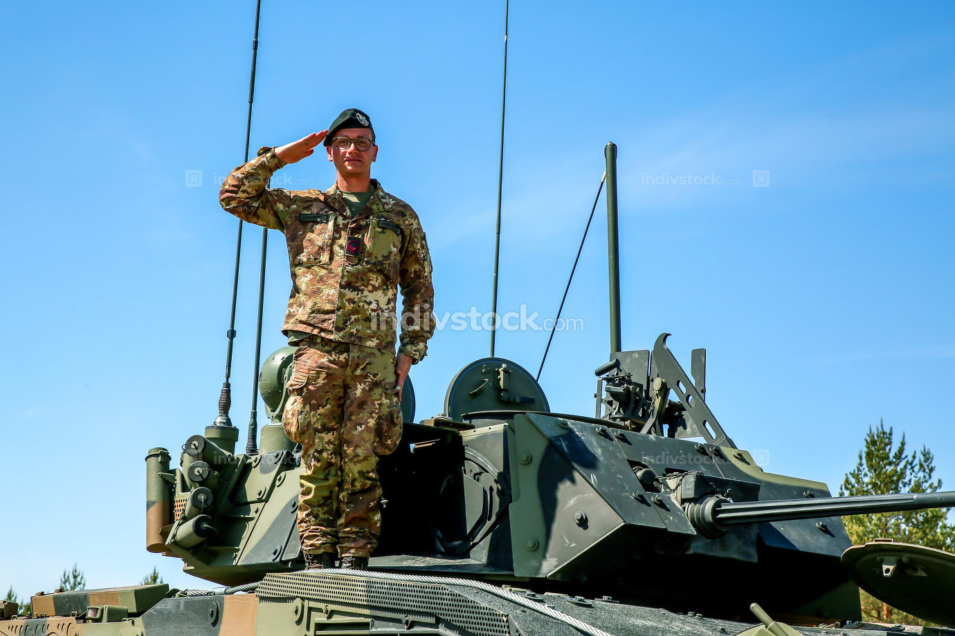 Soldier on tank in military training Saber Strike in Latvia.