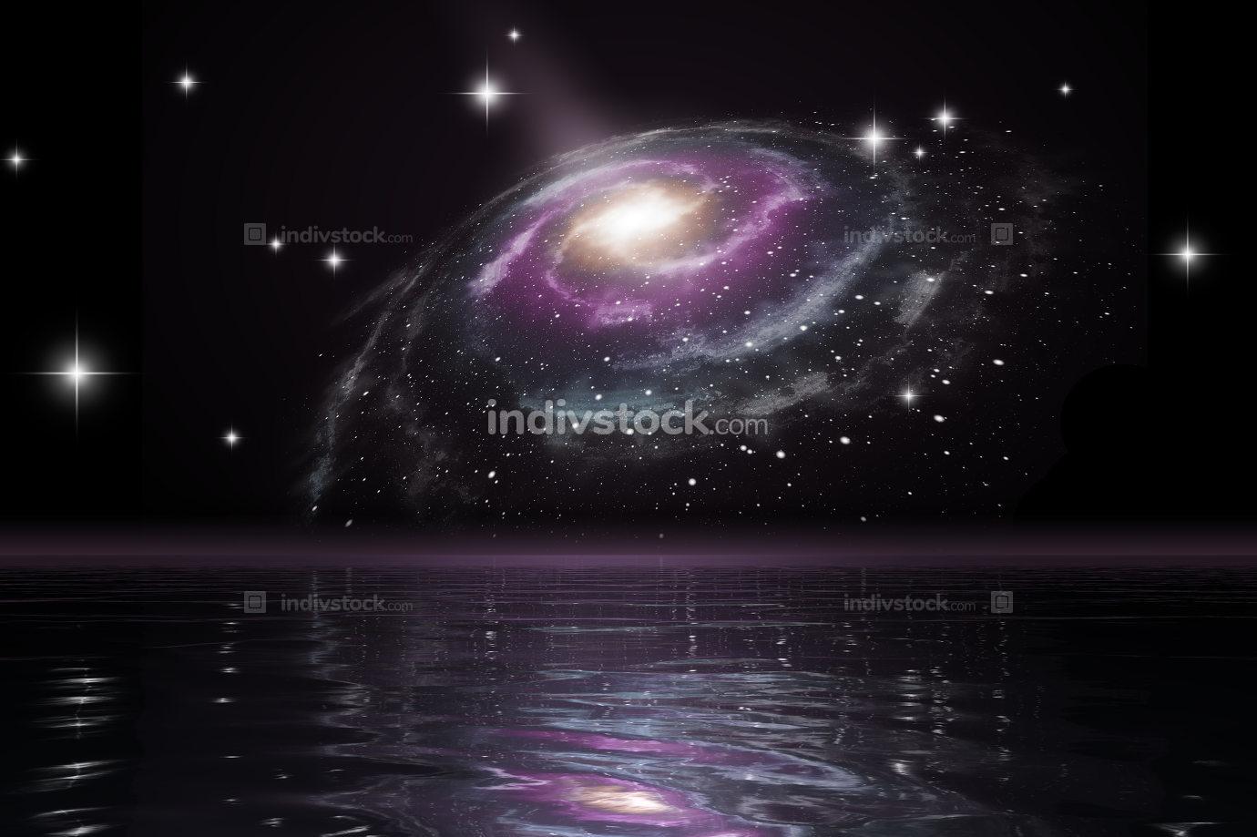 spiral galaxy over the ocean