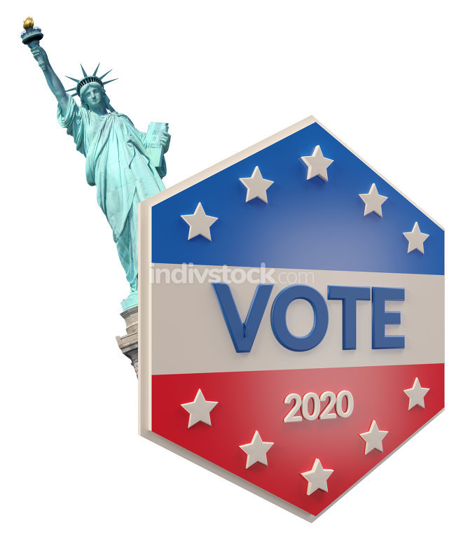 Statue of liberty presidential election 2020 - vote 3d-illustrat
