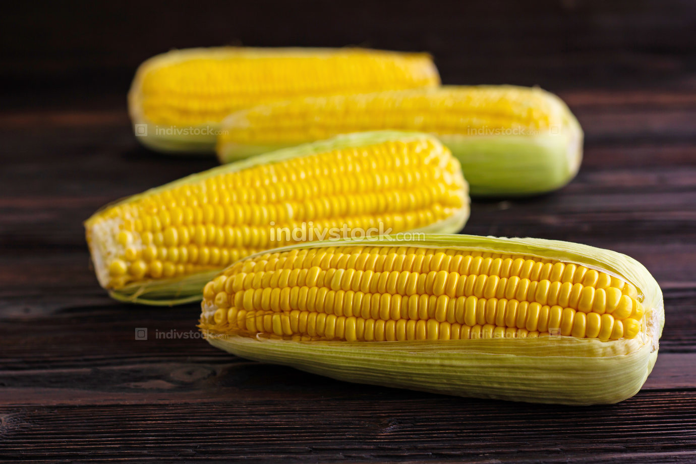 Sweet Corn on wooden table background.