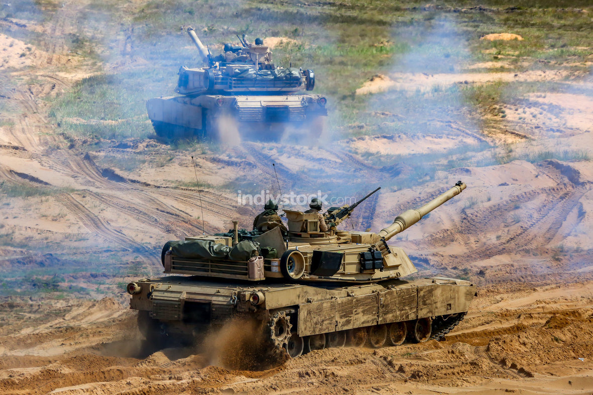 Tanks in military training Saber Strike in Latvia.