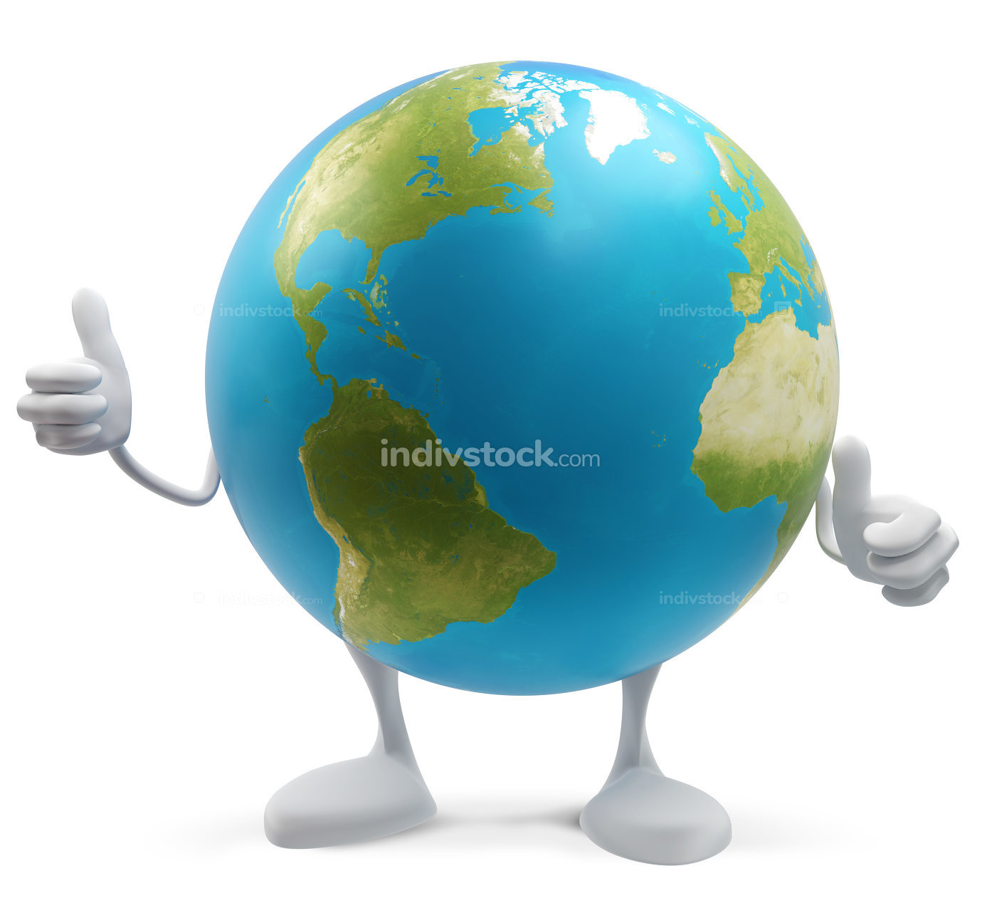 thumbs up planet earth globe isolated 3d-illustration. elements