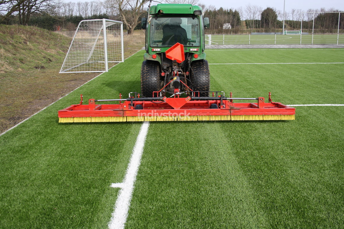 Tractor on artificial grass
