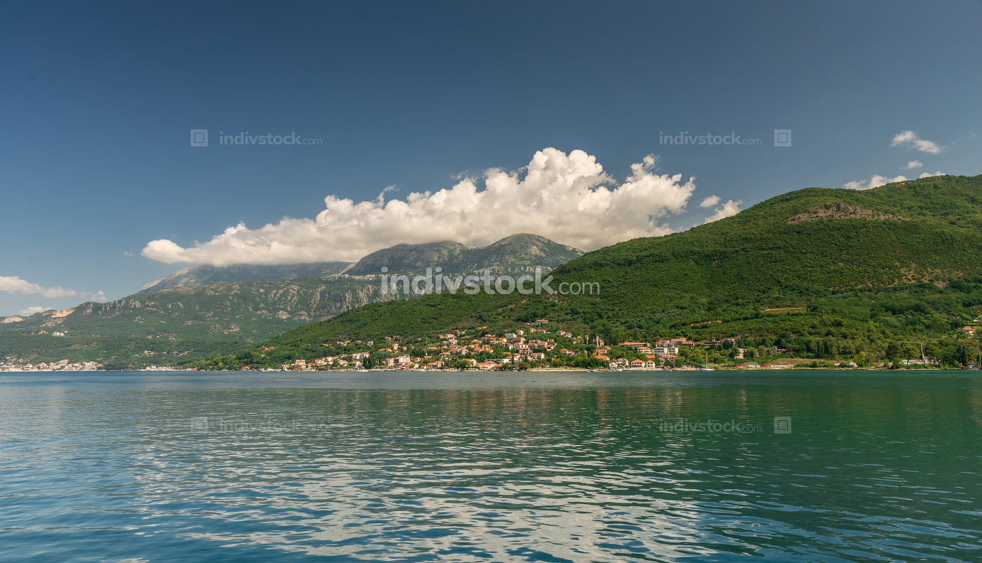 Villages on the shore of Bay of Kotor in  Montenegro.