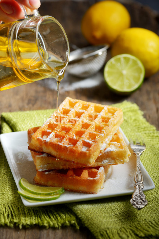 Waffles with honey