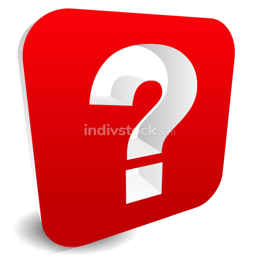 3D red question mark graphics for related concepts. Problem solv