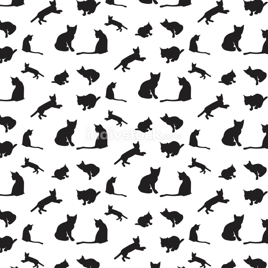 Cats silhouette pattern  background - Vector
