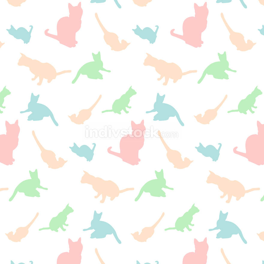 Cats silhouette pattern colorful background - Vector