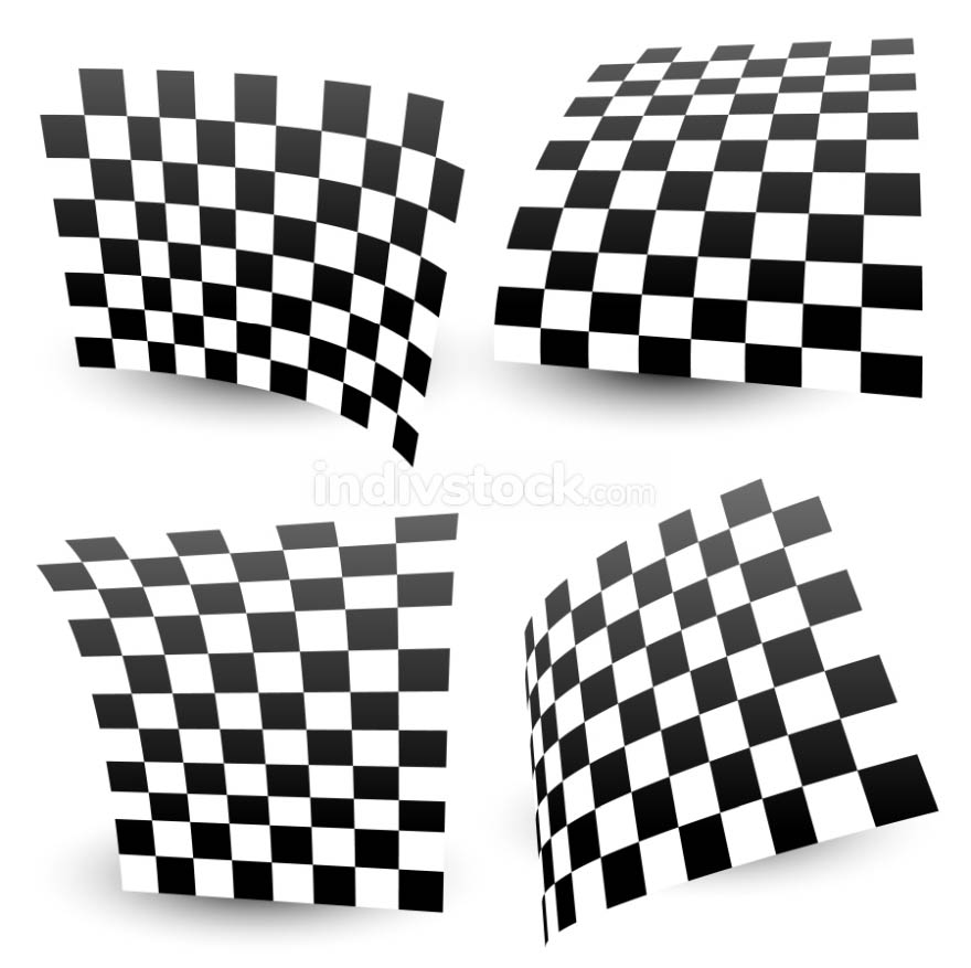 Checkered (chequered) racing flag isolated on white