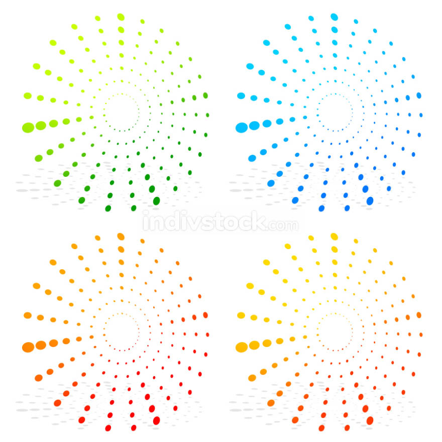 Radial dotted elements on white. editable vector graphics