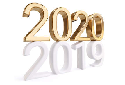 2020 golden on top of 2019 white thin letters 3d-illustration