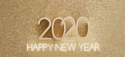 2020 happy new year light at fine structured golden backdrop 3d-