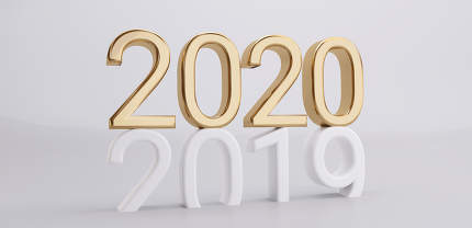 2020 on 2019 3d-illustration golden bold letters
