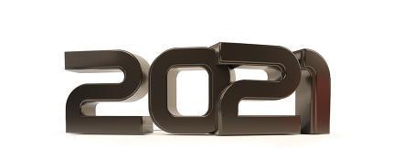2021 bold letters symbol 3d-illustration