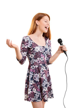 Beautiful young girl singing