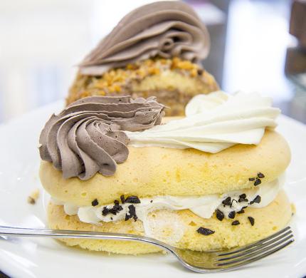 cake slices with cocoa and vanilla cream ,