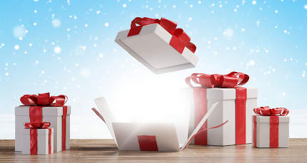 christmas presents with one opened surprise box 3d-illustration