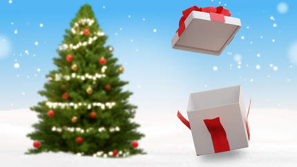 christmas tree and opened christmas present in the snow 3d-illus