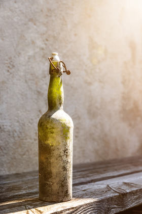 dirty old wine bottle