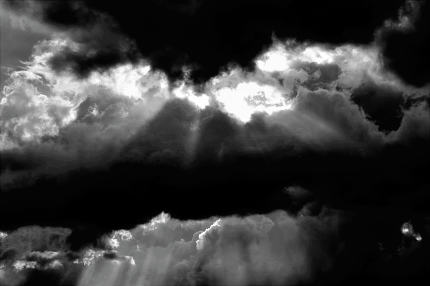 dramatic clouds weather, monochrome image