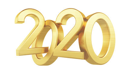 free download: 2020 golden bold letters glossy 3d-illustration