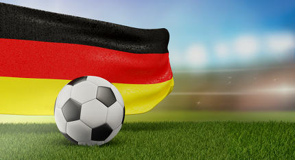 free download: soccer ball and flag of Germany 3d-illustration