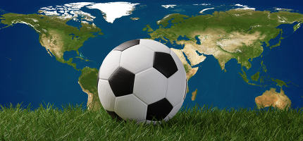 free download: soccer ball on grass in front of world map 3d-illustration. elem