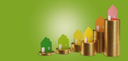 free download: stack coins houses 3d-illustration