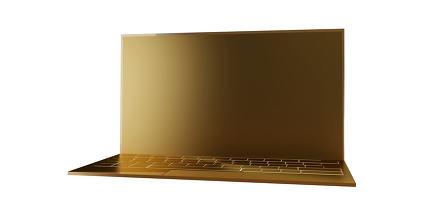 golden computer screen and keyboard design 3d-illustration