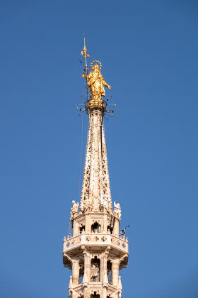 golden Madonna statue at Cathedral Milan Italy