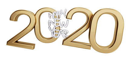 happy new year 2020 golden isolated bold letters 3d-illustration