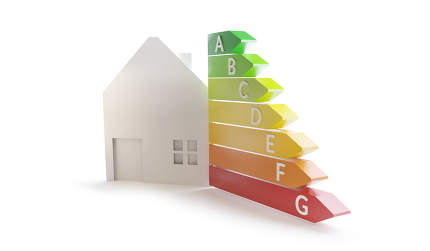 house energy rating 3d-illustration