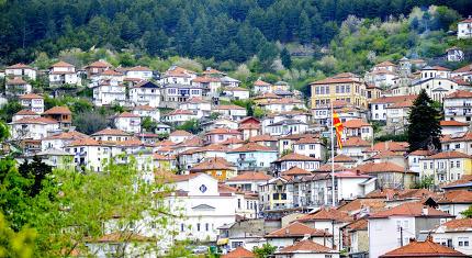 KRUSEVO , MACEDONIA - MAY 5, 2019: Wiev of a city of Krushevo in cental North Macedonia, Balkans