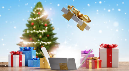 open white golden box in front of blurred presents and tree 3d-i