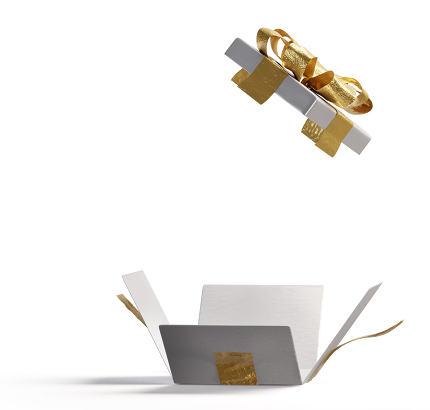 open white golden box isolated 3d-illustration